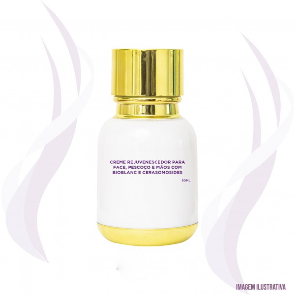 Creme rejuvenescedor para face, pescoço e mãos com Bioblanc e Cerasomosides - 30ml